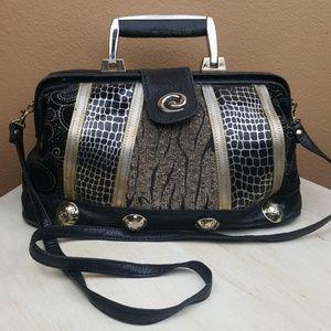 Vintage🌟Black Leather Animal Print Gold Handbag